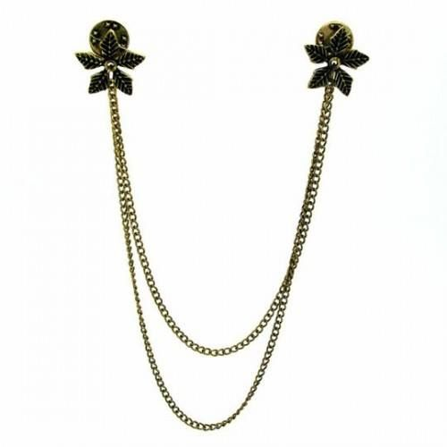 Bronze Flower Collar Brooch On trend chained collar studs, constructed from brushed bronze metal with two flower badges that attach to your shirt collar, complete with connecting chain.  Flowers measure 2 × 2cm in size. Shortest chain measures 20cm. Gold badge fastenings.  #collar #brooch