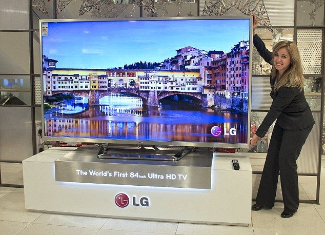 The £5,000 Ultra High-Definition TVs that could be obsolete by next year! Ultra HD TVs like this massive 84 inch LG model boast astonishing picture clarity with images that are said to be four times sharper than current high definition TVs but may not work in one year. Click through to link to read why.
