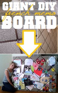 Totally doing this for the huge blank walls in my kitchen!!!---Oversized, easy, cheap french memo board DIY.....