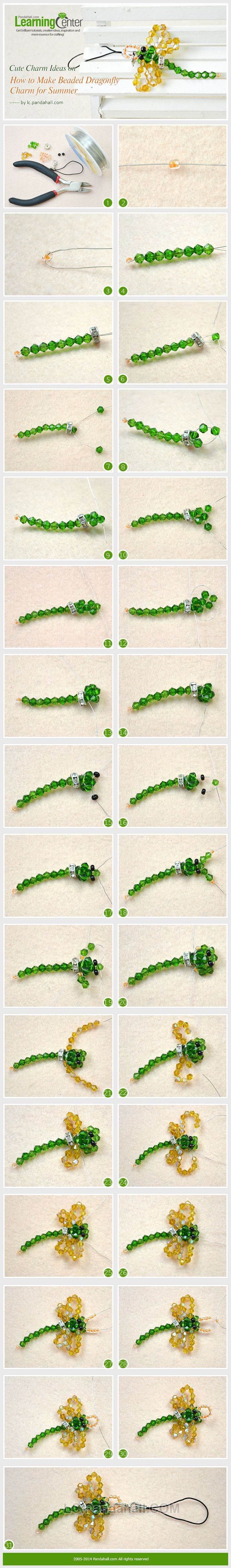 Cute Charm Ideas on How to Make Beaded Dragonfly Charm for Summer