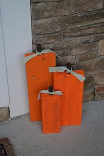 Scrap Wood, Wooden Pumpkins (I think I would paint faces on them.)