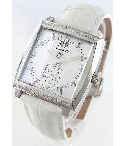 タグホイヤーモナコ ダイヤモンド グランドデイト アリゲーターレザー ホワイトシェル レディース WAW1313FC6247 -タグホイヤー時計コピー