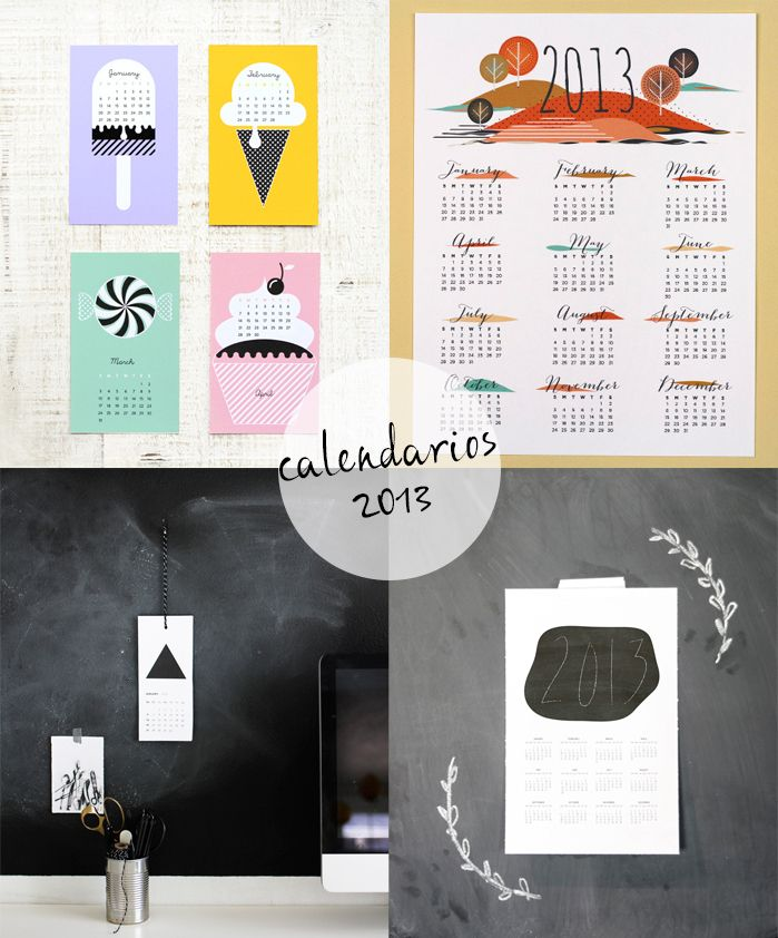 Calendarios imprimibles 2013.