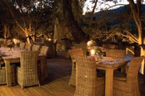 Dining under the stars next to the river