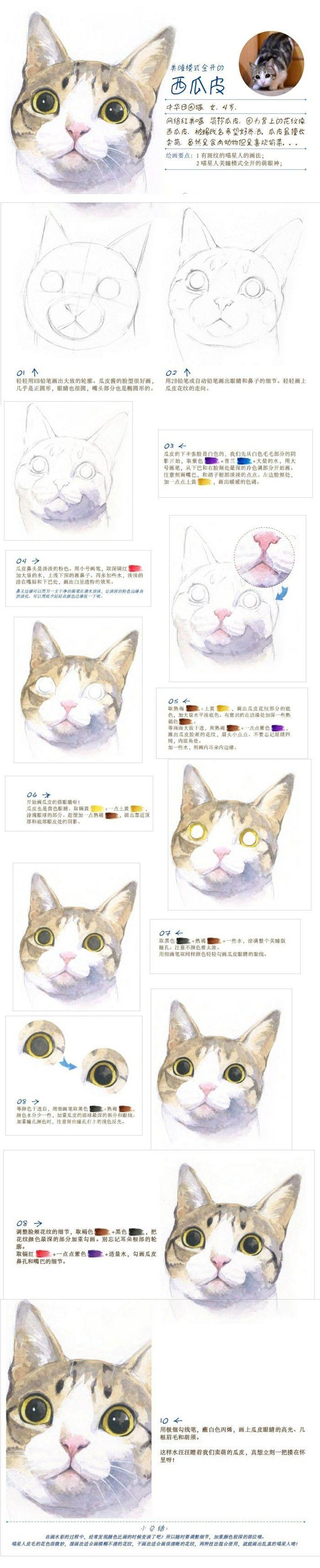 Watercolor cat tutorial