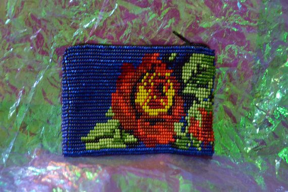 Beautiful Colored Huichol ROSE seed beads Pouch by AztekMoon