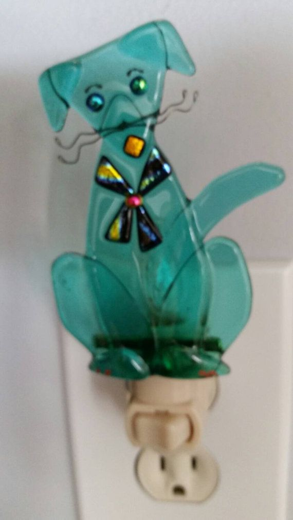 Whimsical Dog Fused Glass Night Light with incredible attention to detail