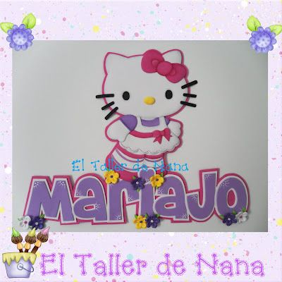 El Taller de Nana: Nombre - Aplique de Hello Kitty en foami