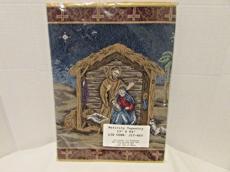 "Nativity Tapestry Christmas Table Runner Bethlehem Jesus Mary Joseph 13"" x 54""   #Unbranded"