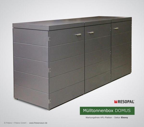 3x 120 Liter Mulltonnenverkleidung Domus Aus Wartungsfreien Hpl Platten Dekor Ebony Mulltonnenbox Mulltonnenverkleidung Mull