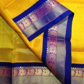 SC3500004-VARNAM Handwoven Silkcotton-Korvai-Golden yellow royal blue, 700g