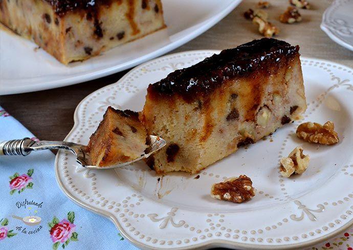 Deliciosa receta de pudin de pan con nueces y chocolate del blog Disfrutando de la Cocina