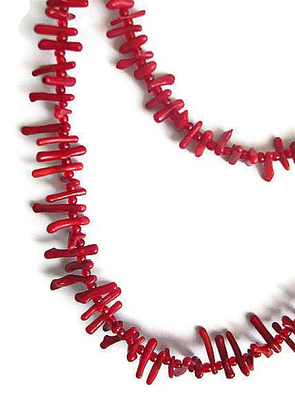 Boho Necklace Red Coral Fashion Jewelry Woman by JannasCraft, $14.90