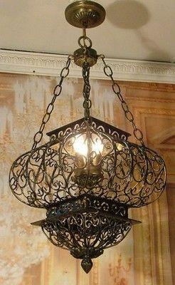 Elegant Antique Style Vintage Wrought Iron Cage Chandelier Ceiling Fixture NICE!