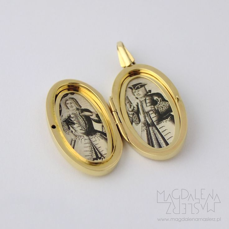 magdalena maślerz - 14k yellow gold locket for two photographs. oval 20x30mm, polished. 2016 check photos below to see how i was making it: