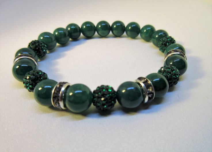 Crackle Green Agate A Grade Natural Beaded Bracelet with Green  Pave Disco Ball Beads . Great bracelet for holiday season, get yours today!