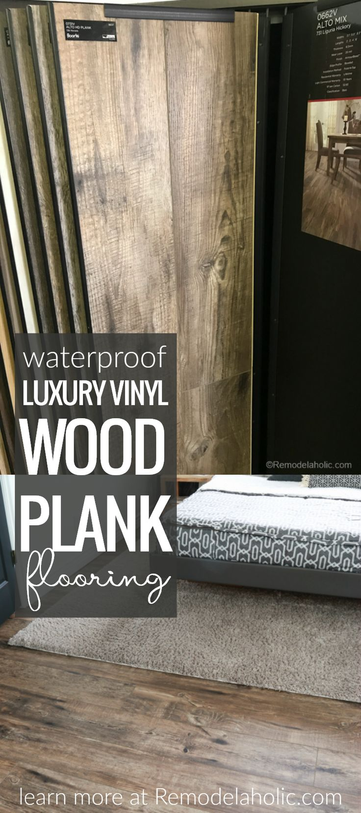 Get the farmhouse look without the upkeep of hardwood floors! Waterproof Luxury Vinyl Wood Plank Flooring @Remodelaholic