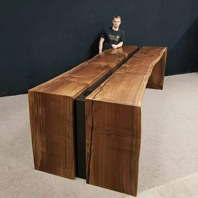This stuning custom media table is getting ready to be featured in the John Wayne Airport business center in Los Angeles🛫. At 12 feet long and 4' wide with a sturdy metal frame it weighs in around 1000 lbs. We started with a 20' long by 4' wide single walnut slab that was milled on our property 2 years ago. The color and grain of this piece will show thousands of people the beauty of the NorthWest. .✈