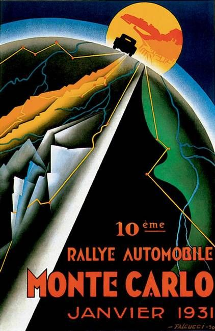 """Monte Carlo Auto Rally ~ Vintage Automobile Ad"" by Johnny Bismark, Tropical Oasis // Imagekind.com – Buy stunning, museum-quality fine art prints, framed prints, and canvas prints directly from independent working artists and photographers."