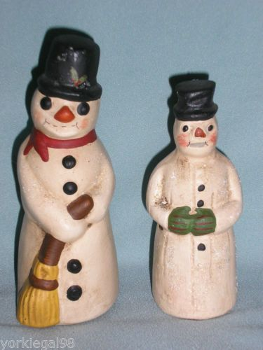 Walnut Ridge Collectibles 2 Primitive Vintage Style Chalkware Snowman Figurines