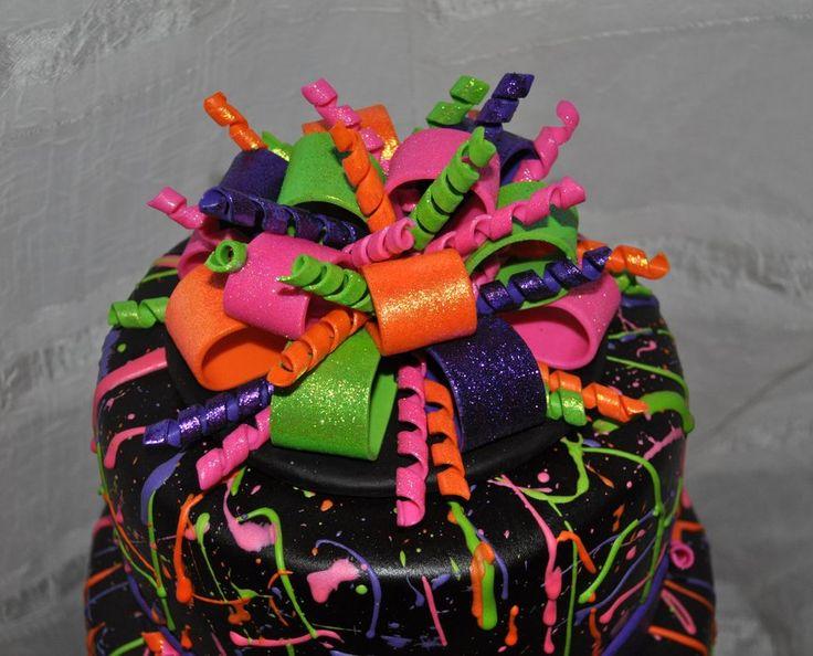 Neon Birthday Cakes | Neon Paint Splatter Cake! - by SimplyIrresistible @ CakesDecor.com ...
