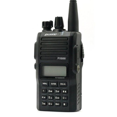 PuXing PX-888 VHF 136-174Mhz Radio Transceiver by SainSonic. $79.99. This Puxing PX-888  Radio Transceiver can be used for both  amateur and commercial applications. The programmable channel shift allows for  easy communication with repeaters.  Key Features:   Memory channel capacity: 128 Output power: 4-5W Wide: 25kHz; Narrow: 12.5kHz spacing programmable at each channel 1200mah Li-ion battery; Input frequency by using keypad; VOX gain level (1-9); Scan function with all c...