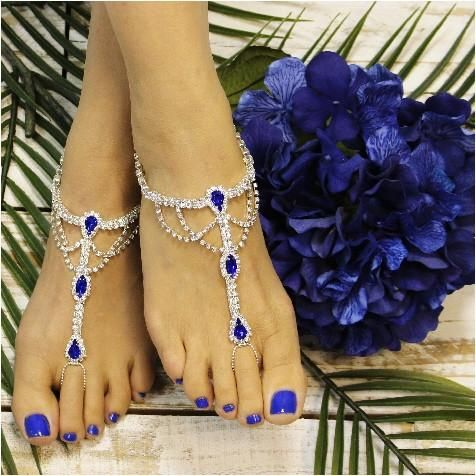 SOMETHING SAPPHIRE  barefoot sandals - royal blue - wedding- foot jewelry