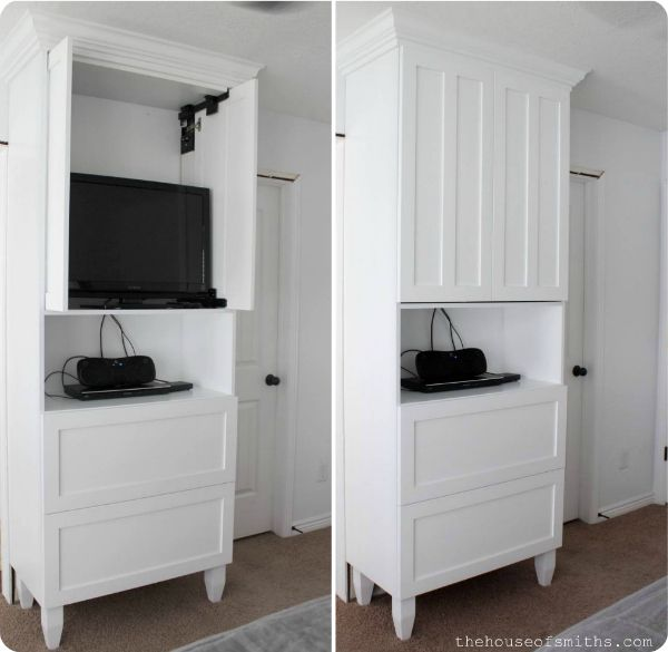 TV Cabinet for TV Storage in Master Bedroom - thehouseofsmiths.com #storagesolutions #masterbedroomideas