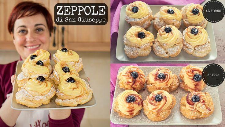 ZEPPOLE DI SAN GIUSEPPE AL FORNO & FRITTE Ricetta Facile - Pasta Choux F...