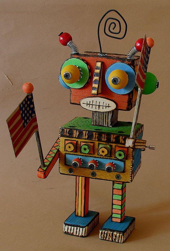 Wooden Robot Music Box A Few of my Favorite by StreetDogArtStudio, $150.00
