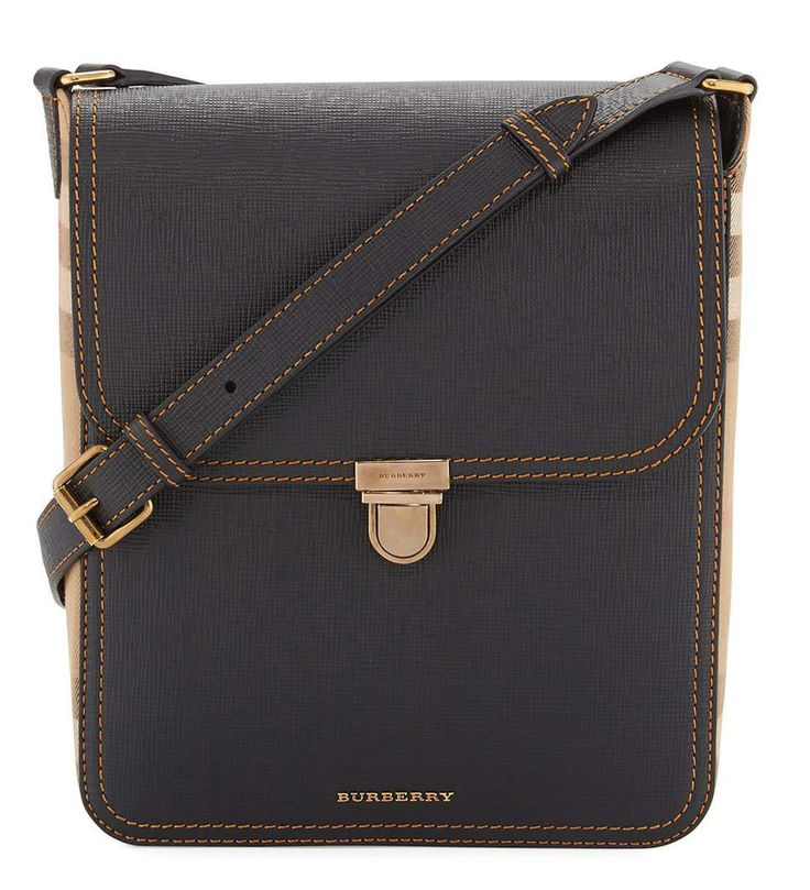 Burberry Bridle Men's House Check & Leather Medium Satchel Bag Black             $219.00
