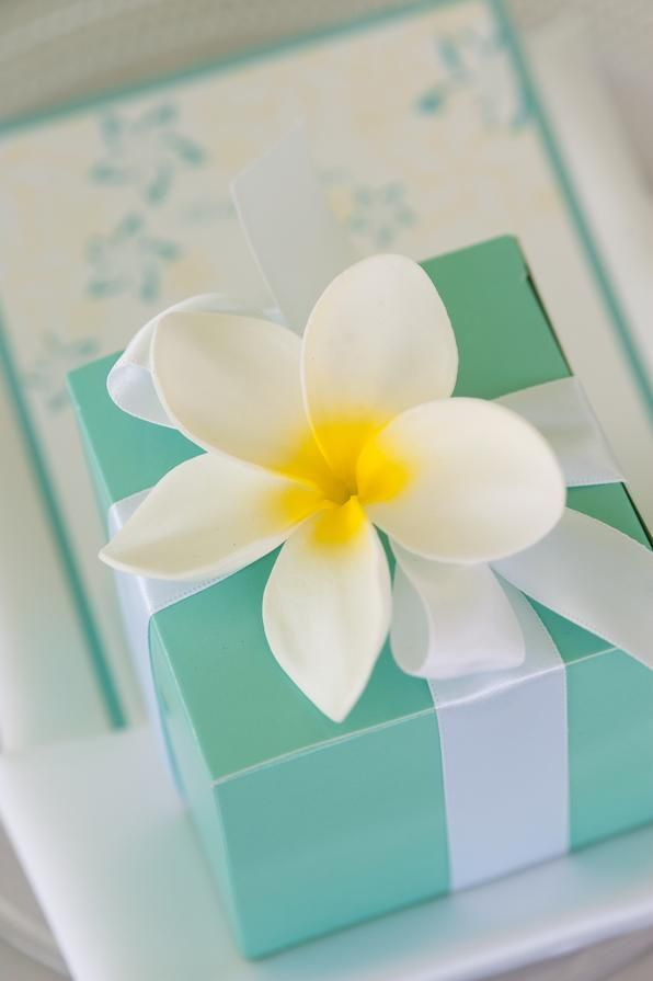 Tiffany's Inspired Tropical Wedding Favors   Wedding inspiration from AislePlanner.com: