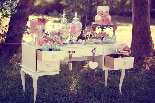 While this may be a great Vintage tea party - Styled shoot 3, I like the desk;-D