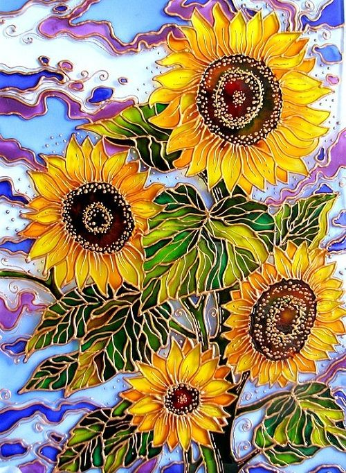 """""""Sunflowers"""" Stained Glass Painting ~ by St. Petersburg artist Iris"""