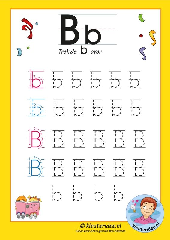 Pakket over de letter b blad 7, trek de letter b over, letters aanbieden aan kleuters, kleuteridee, free printable.