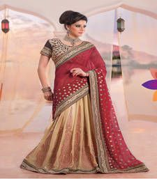 Buy Red and Cream embroidered georgette lehenga saree with blouse lehenga-saree online