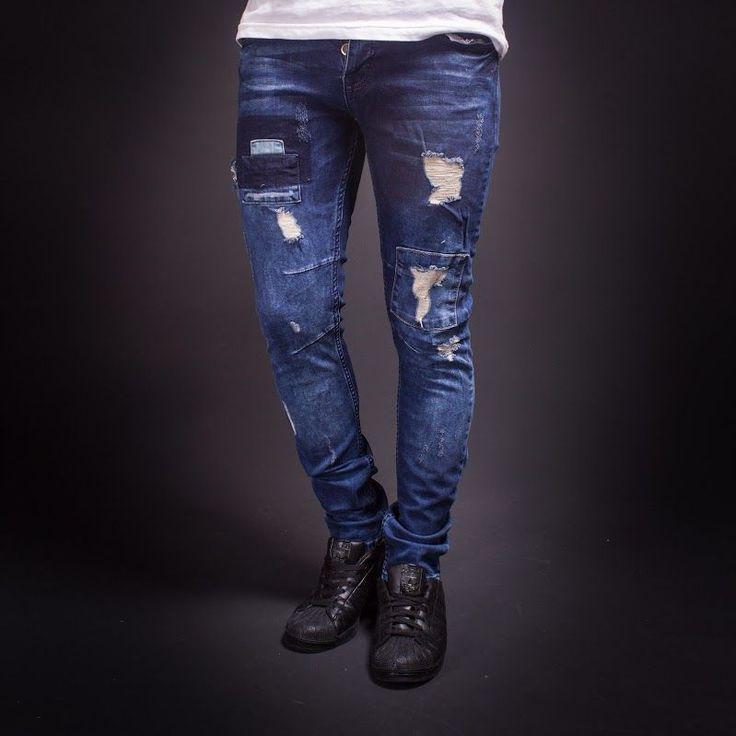 Skinny Jeans Men's Fashion Stylish Ripped L34 Patched Details Pants  2212 via SNEAKERJEANS STREETWEAR SHOP