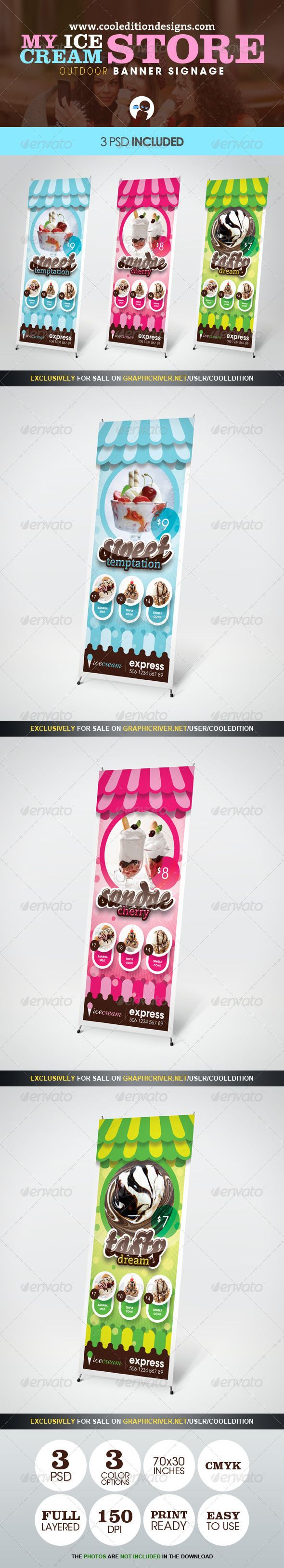 My Ice Cream Store - Outdoor #Banner Signage - #Signage Print Templates Download here: https://graphicriver.net/item/my-ice-cream-store-outdoor-banner-signage/2511855?ref=alena994