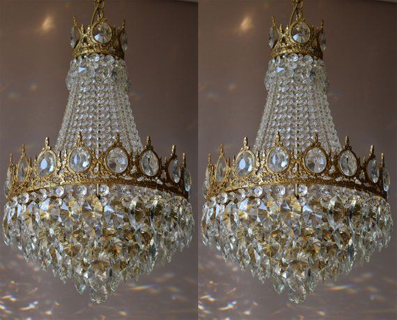 Chandelier Sale Two Matching Antique Vintage Chandeliers French Crystal Chandeliers And Lamps In Art Nouveau Style