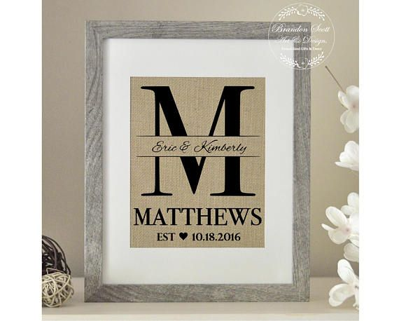 Burlap Monogram Bridal Shower Gift Burlap Wedding