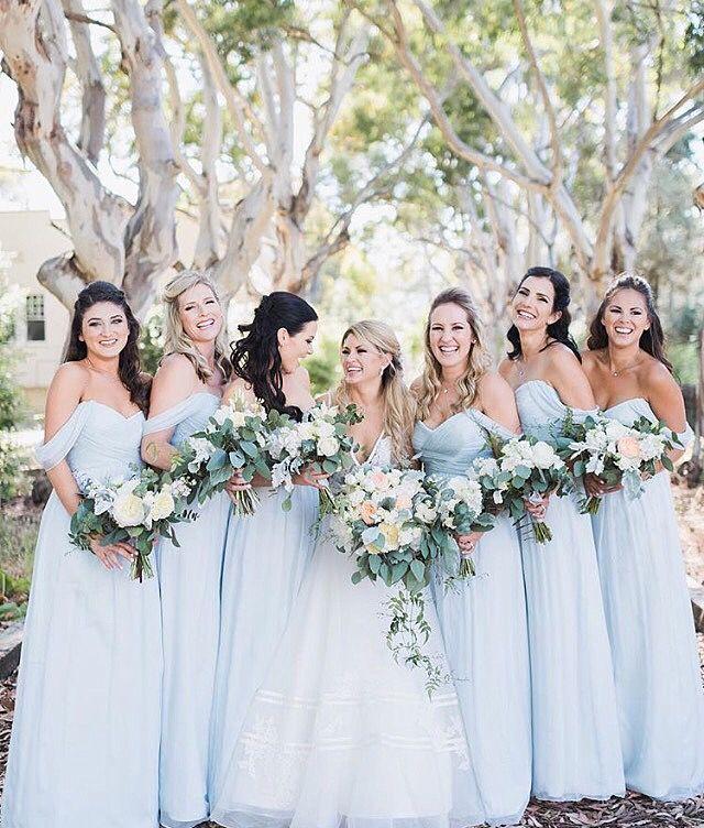Real Bride Celeste Chose Pale Powder Blue Dresses For Her