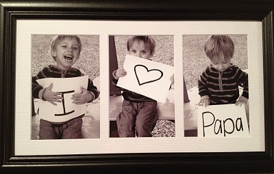 I <3 Papa, diy gift idea. Prints ~2.00; frame ~8.00. Total = approximately $10.00