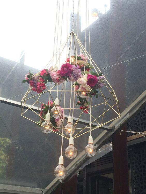 Hanging gold diamond wedding chandelier / http://www.deerpearlflowers.com/modern-himmeli-geometric-wedding-details/3/