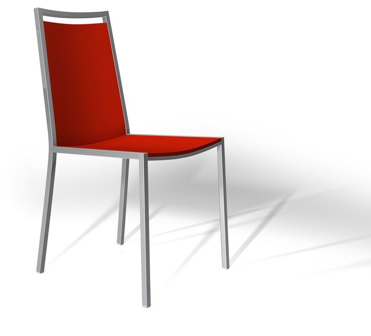 Silla 'Concept'. Asiento y respaldo en rojo. Modernidad y comodidad para su cocina.