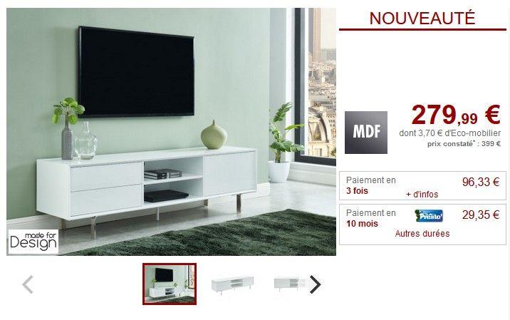 Vente Unique Meuble Tv Artaban 2 Tiroirs Mdf Laque Blanc Pas Cher Achat Vente Meubles Tv Hi Fi Rueducommerce Home Tv Shelving Ikea Tv Stand