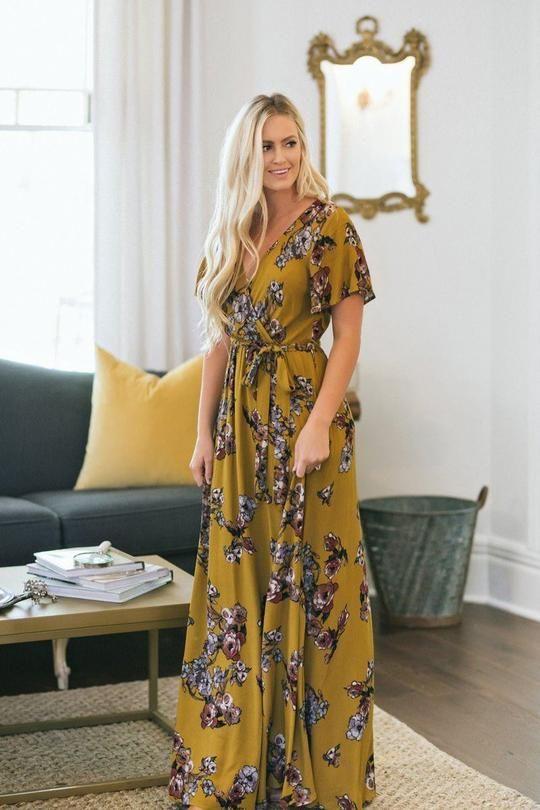 be28806a70c01 Bethany Mustard Floral Wrap Maxi Dress   EMR2   Floral print maxi dress,  Boutique maxi dresses, Maxi wrap dress