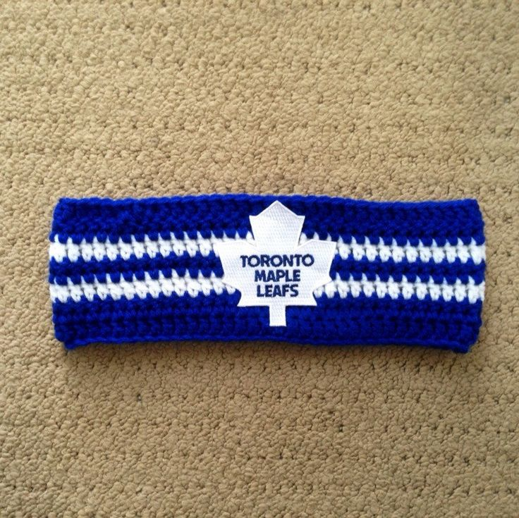 Toronto Maple Leaf Handmade Crochet Headband, Blue with White Stripes and NHL patch by KaileighKrafts on Etsy https://www.etsy.com/listing/213107437/toronto-maple-leaf-handmade-crochet