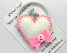 Felt hair ties - White Heart Bobble, Felt Hair tie, Ponytail holder, hair elastics, hair bobbles, pigtail holder, Girls hair accessories