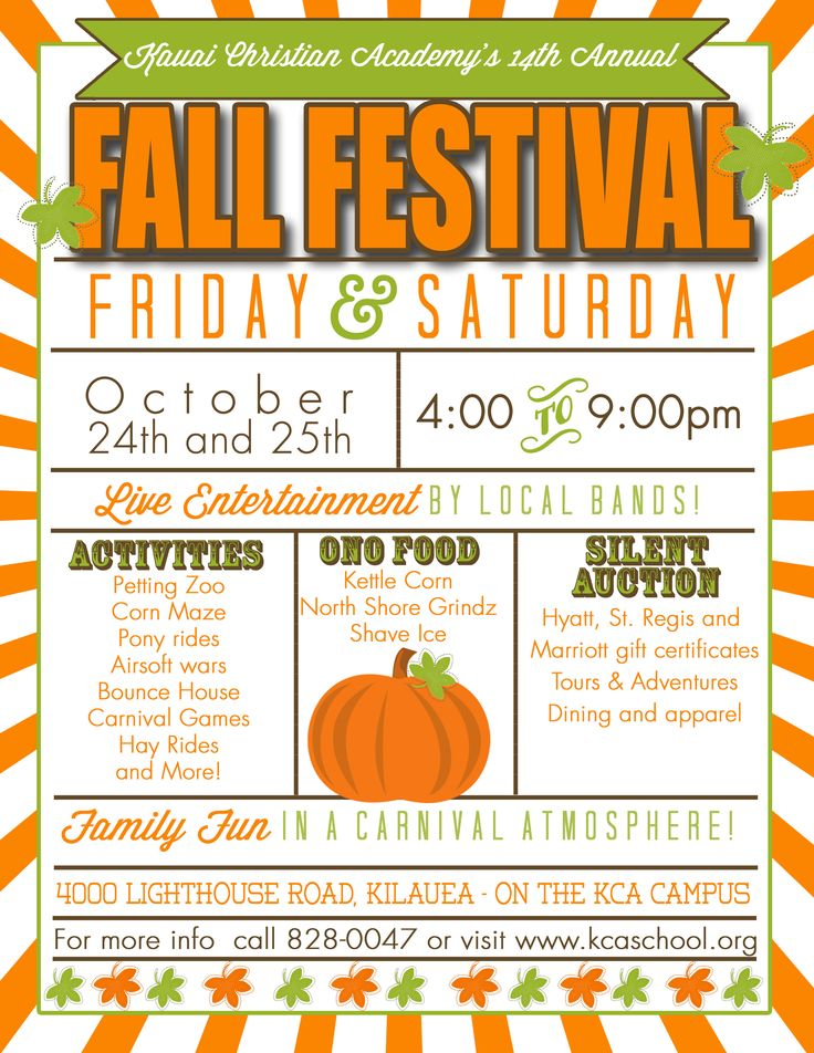 Share thisCome join in the fun at our 14th Annual Fall Festival! Fun for the whole family in a Carnival Atmosphere! Activities, ono food, and a silent auction.