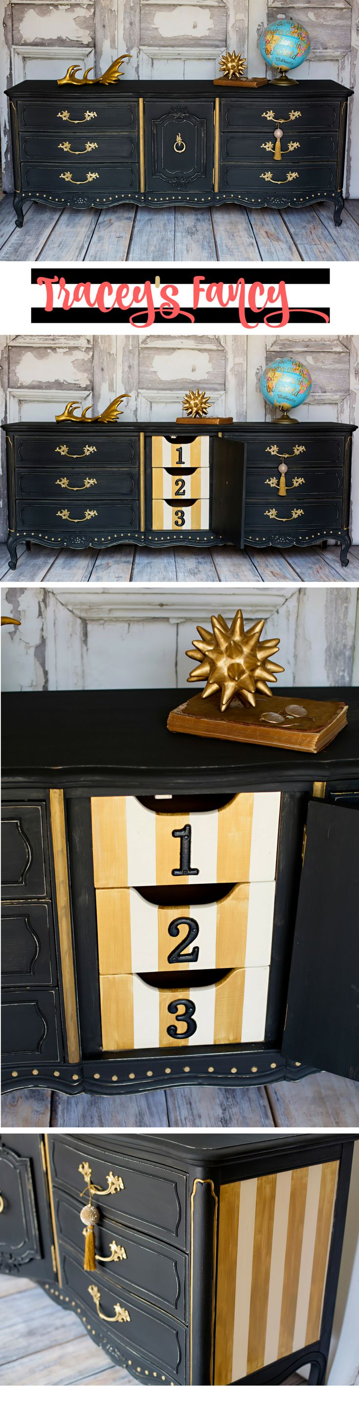 Painted Black Dresser With Fun Inside Yellow Drawers